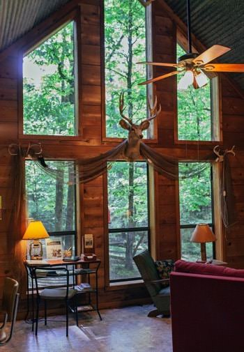 Inside of cabin with vaulted ceiling, tall wall of windows with a mounted deer head, and wooded views